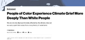 Vice Mag: 'People of Color Experience Climate Grief More Deeply Than White People' – 'Disproportionately affected by the climate crisis' & 'carry a pain that comes from a long history of racial terror'