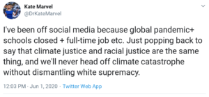 NASA scientist Dr. Kate Marvel links 'climate change' to 'white supremacy'  – 'We'll never head off climate catastrophe without dismantling white supremacy' – Calls for climate & racial 'justice'