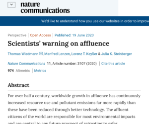 'Scientists' warning on affluence': Study: Wealth harms the planet! Solutions? 'Degrowth'; 'Eco-socialism'; Banning 'oversized vehicles'; 'Eco-feminism'; 'Maximum income levels'