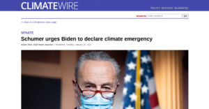 Dem Sen Majority Leader Schumer urges Biden 'to call a climate emergency' – 'He can do many, many things under the emergency powers…without legislation'